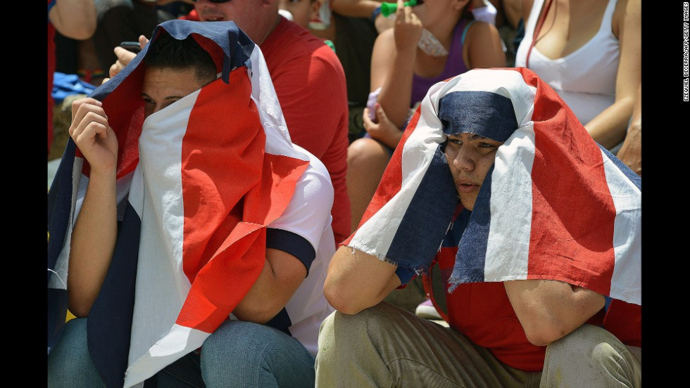 Costa Rica fans watch the match against Netherlands on a giant screen at Democracy Plaza in San Jose, Costa Rica, on July 5.