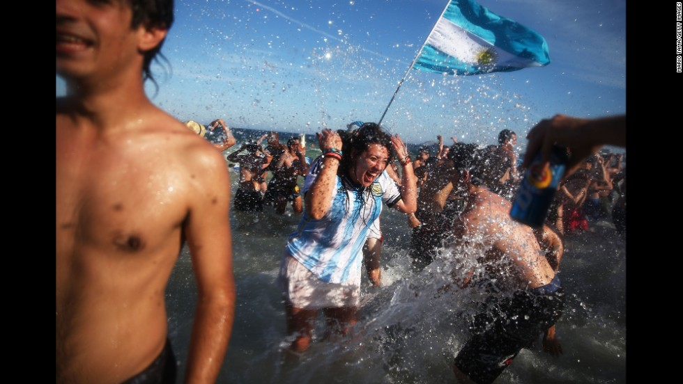 Argentina fans on Copacabana Beach celebrate their victory over Belgium on July 5. Argentina advanced to the World Cup semifinals for the first time in 24 years.