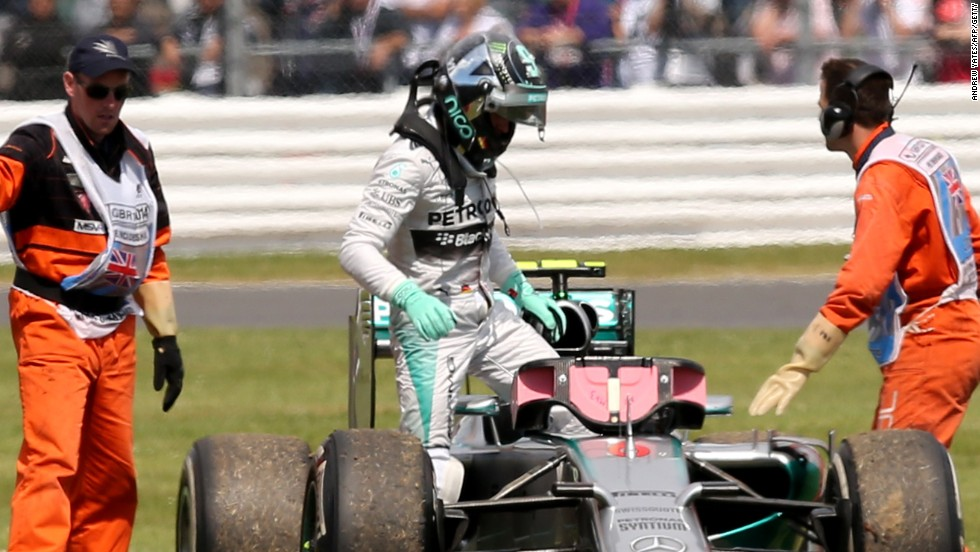 Nico Rosberg was forced to retire his Mercedes when leading on lap 29 of the British Grand Prix.