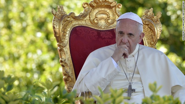 Pope Francis looks on during a meeting with youth of the diocese on July 5, 2014 in Castelpetroso, southern Italy.