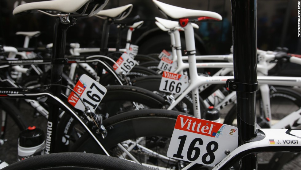The bikes of team Trek Factory Racing stand ready for the first stage of the tour. German racer Jens Voigt's bicycle can be seen with the number 168.