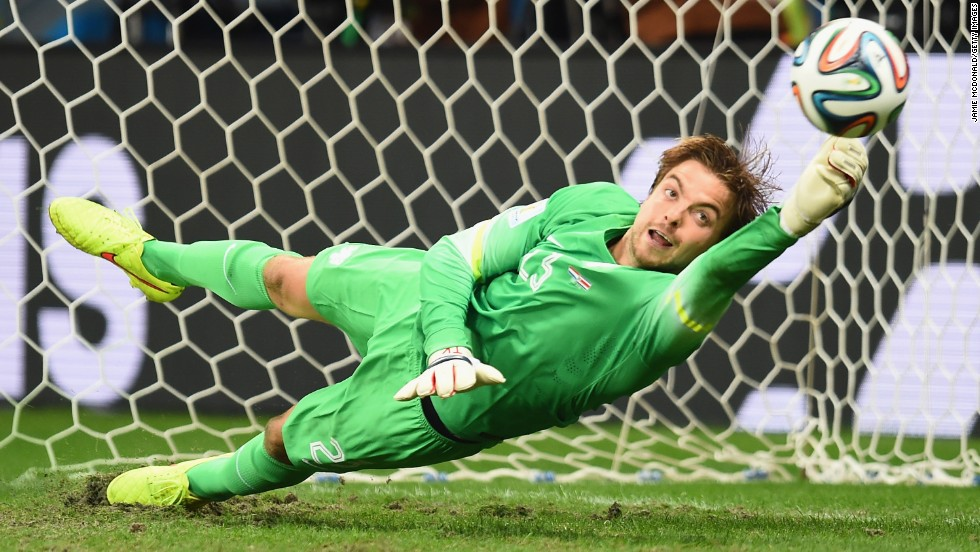 Goalkeeper Tim Krul deflects a shot to give the Netherlands a shootout victory over Costa Rica in the World Cup quarterfinals Saturday, July 5, in Salvador, Brazil. Dutch coach Louis van Gaal made an unusual substitution by bringing on Krul specifically for the shootout, but it worked to perfection as Krul stopped two of four Costa Rican shots.