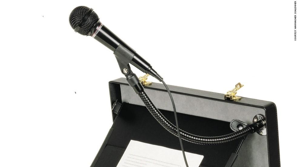 This multipurpose suitcase is designed for businessmen making speeches on short notice.
