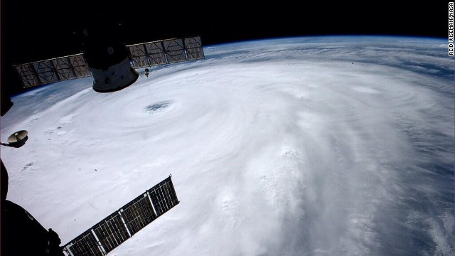 Typhoon Neoguri is pictured directly over Okinawa, Japan from the International Space Station on Monday, July 7, 2014.