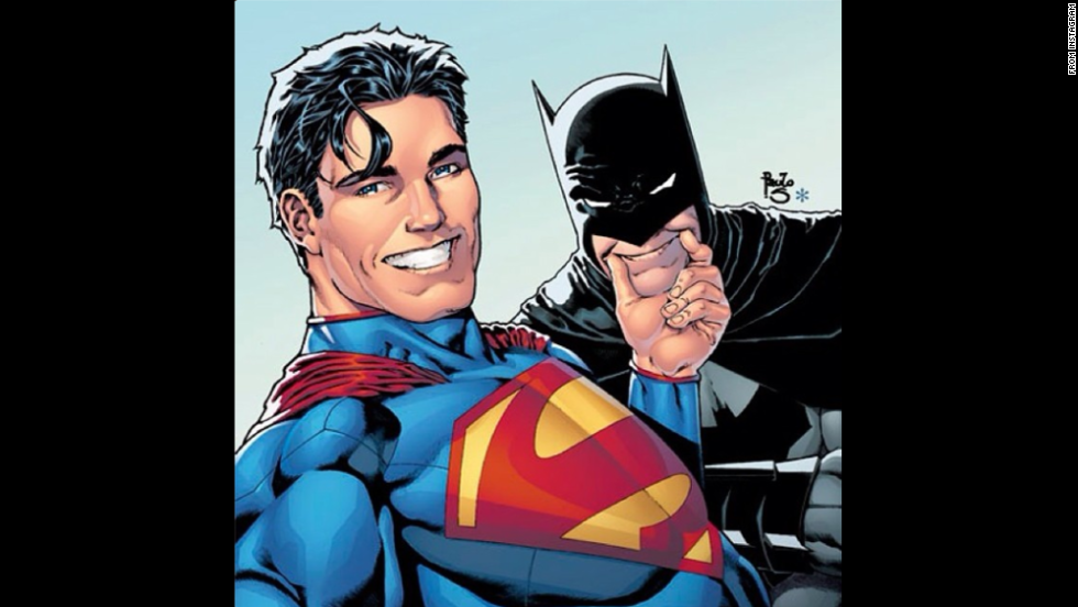 "DC Comics <a href=""http://instagram.com/p/p9nRF5uUOi/"" target=""_blank"">posted this selfie</a> of Superman and Batman to its Instagram account on Wednesday, July 2: ""As a Thank You to our 100,000+ fans here's an exclusive first look at the DC Universe Selfie variant cover to BATMAN/SUPERMAN #14."""