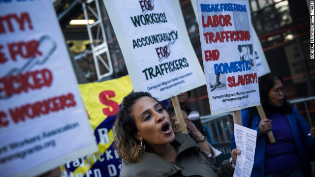 Jessica Penaranda of New York protests against labor trafficking and modern day slavery outside the United Nations on September 23, 2013 in New York City.