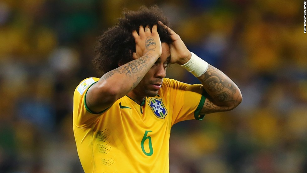 Brazil's Marcelo reacts after a German goal.