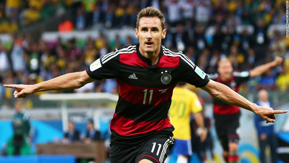 Miroslav Klose celebrates scoring his team's second goal against Brazil. The goal made Klose the all-time leading scorer in World Cup history.