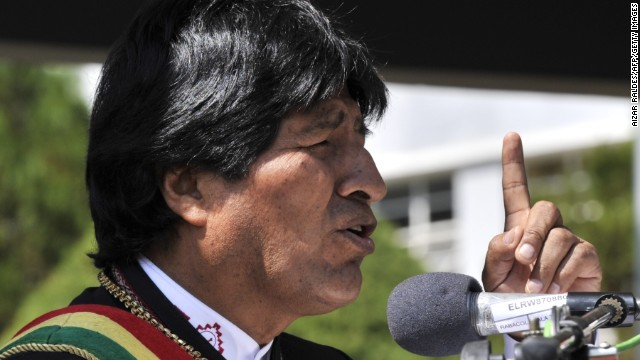 Bolivian President Evo Morales delivers a speech during the celebration of the 123rd Anniversary of the Military School in La Paz, on April 25, 2014. Bolivia sacked 702 members of the military Thursday in a quick, firm response to a march by non-commissioned officers protesting alleged discrimination against indigenous members. AFP PHOTO/Aizar RALDES (Photo credit should read AIZAR RALDES/AFP/Getty Images)