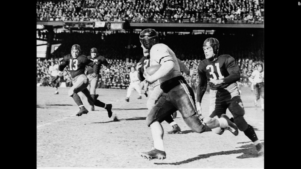 """<strong>1940 NFL Championship: </strong>After Washington eked out a 7-3 victory over Chicago in the 1940 regular season, Redskins coach George Marshall called Chicago coach George Halas and his players """"crybabies."""" When the two collided in the championship that season, the Bears stomped the Redskins so badly, 73-0, that officials asked Halas to stop kicking extra points because too many balls had been lost in the stands."""