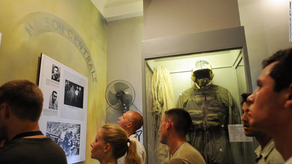 "At the ""Hanoi Hilton,"" you can see the flightsuit worn by U.S. Navy Lieutenant-commander John McCain during the Vietnam War. The former Republican presidential candidate spent five years in the prison after his A4E Skyhawk was shot down over Hanoi."