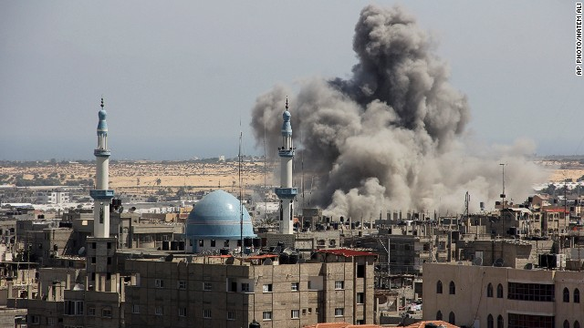 An Israeli missile hits an area in Rafah, southern Gaza, on July 9, 2014.