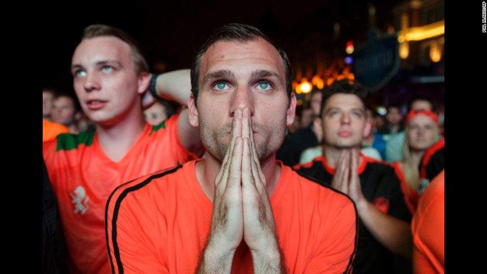 Thousands of soccer fans in Eindhoven, Netherlands, watch a live broadcast of the semifinal on July 9.