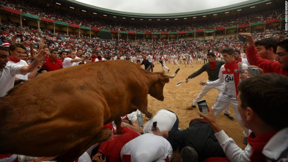 A cow jumps over revelers on July 9.