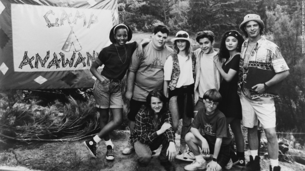 "The wisecracking kids of Nickelodeon's early '90s show ""Salute Your Shorts"" worked overtime making life hard for their counselor ""Ug."" Pictured: (l to r, top) Venus DeMilo, Michael Bower, Megan Berwick, Blake Soper, Heidi Lucas, Kirk Bailey (bottom) Danny Cooksey,  Tim Eyster."