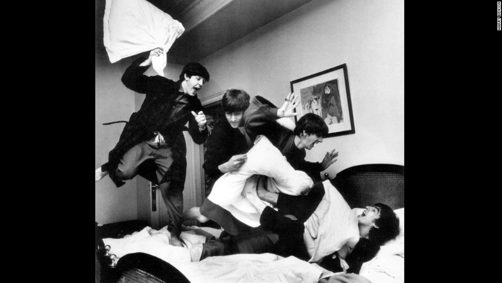 The Beatles have a pillow fight at a hotel in Paris in 1964. Harry Benson, the photographer who traveled with the band, shared these photos from his personal collection.