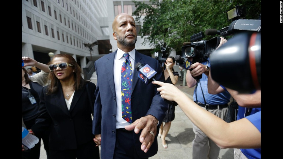 "Former New Orleans Mayor Ray Nagin and his wife, Seletha, leave a federal court in New Orleans after <a href=""http://www.cnn.com/2014/07/09/justice/ray-nagin-sentencing/index.html"">he was sentenced to 10 years in prison</a> for a bribery scandal. In February, a jury found Nagin guilty of taking hundreds of thousands of dollars in bribes and other favors from businessmen looking for a break from his administration."