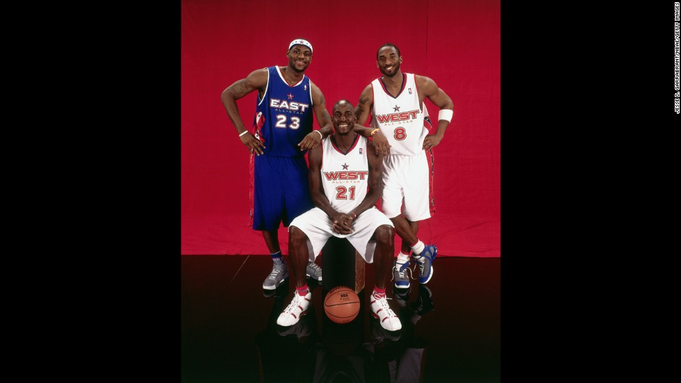 James, left, takes a portrait with fellow NBA All-Stars Kobe Bryant, right, and Kevin Garnett in February 2005. James has been an All-Star every year since.