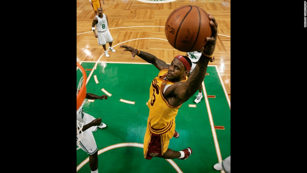 James goes to the basket during a March 2009 game against the Boston Celtics. James won the NBA's Most Valuable Player Award in 2009, 2010, 2012 and 2013.