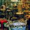 motorcycling iran lamps in bazaar