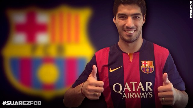 Barcelona released a photo of Suarez on their website.