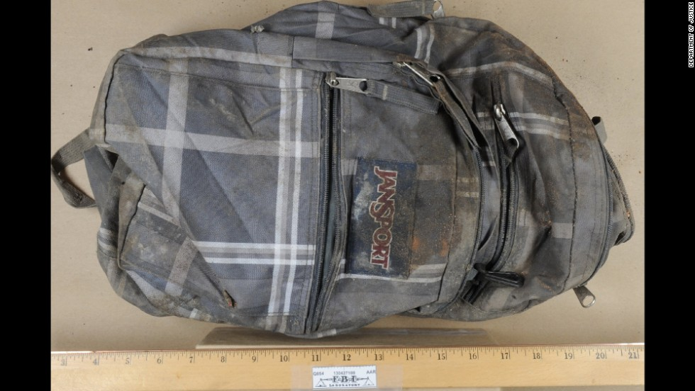 "Among the images released during the trail was this one of a backpack, alleged to have been taken from Dzokhar Tsarnaev's dorm room and thrown in the garbage. The FBI says it later recovered it from a landfill. <a href=""http://www.cnn.com/2014/07/07/justice/boston-bombing-friend-trial/index.html"" target=""_blank"">Azmat Tazhayakov</a> is accused of helping ditch a laptop and the backpack believed to belong to schoolmate Dzhokhar Tsarnaev."