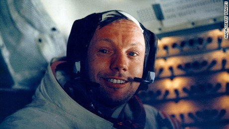First man on the moon ... Neil Armstrong inside the lunar module in 1969