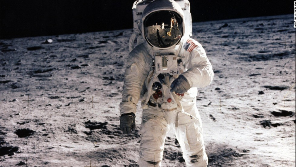 "Astronaut Edwin ""Buzz"" Aldrin walks on the lunar surface during the Apollo 11 mission."