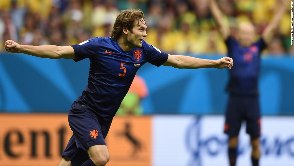 Netherlands defender Daley Blind celebrates after scoring a goal to make it 2-0.