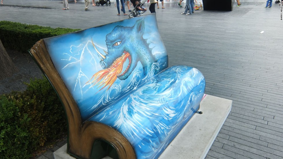 "Another children's favorite. The ""How to Train your Dragon"" bench can also be found close to City Hall."