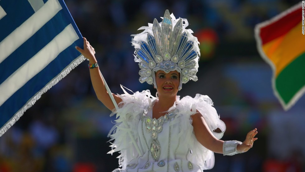 A performer is seen during the closing ceremony at the Maracana. Since the soccer tournament started on June 12, 63 matches have been played in 12 Brazilian cities.