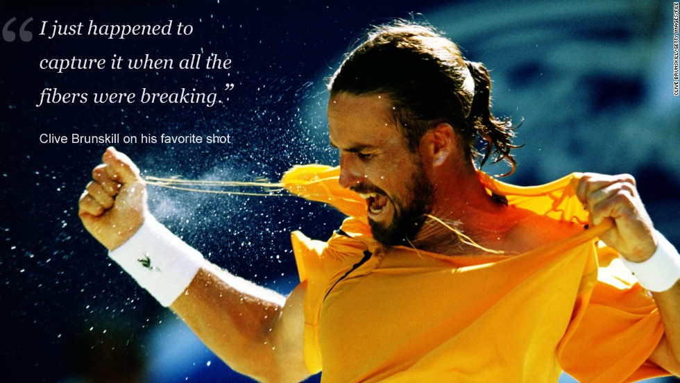 "It's not just at Wimbledon where Brunskill's snaps memorable moments.<br /><br />After a fourth round win over Tim Henman at the 2001 Australian Open, home crowd favorite Pat Rafter let rip, literally.<br /><br />""Rafter was taking the mickey a bit and he just walked up and just ripped his shirt. I just happened to capture it when all the fibers were breaking and it was back lit with the sun behind.<br /><br />""Tennis Australia  presented it to him when he retired -- that picture in a big frame. That was probably one of the nicest ones to take."""