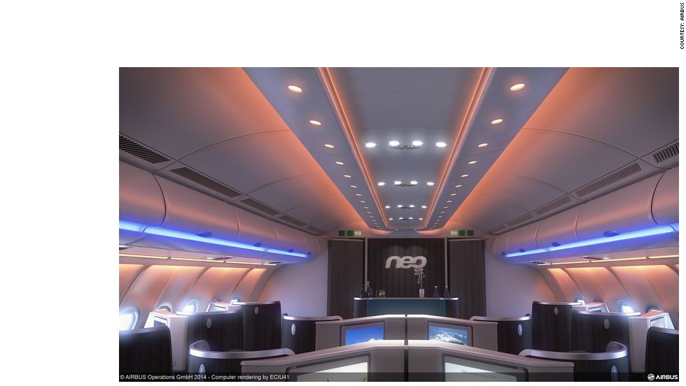 Airbus says that customers will be pleased with wider seats (18 inches in economy) and an updated in-flight entertainment system that will allow passengers to watch movies in 3D.