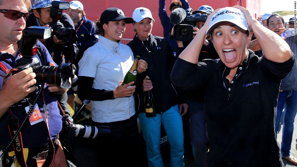 Golfer Mo Martin reacts after winning the Women's British Open on Sunday, July 13, in Southport, England. It was her first major title.
