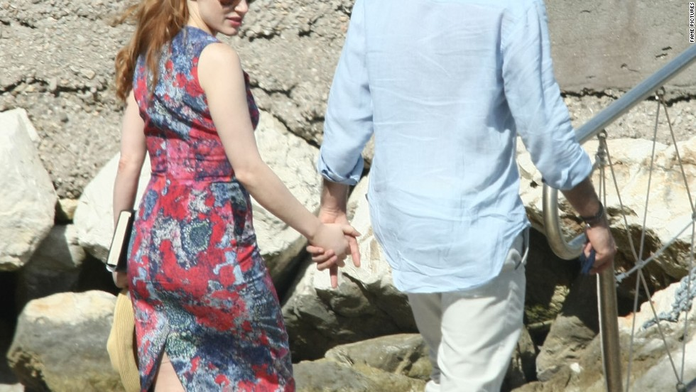 Jessica Chastain and a male companion enjoy the view in Italy on July 13.