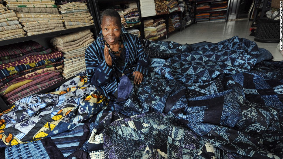 Nike Davies-Okundaye, Nigeria's most famous traditional textile designer, poses at her gallery in Lagos.