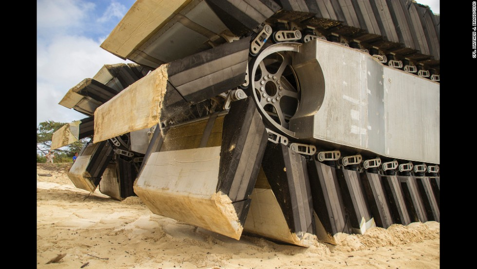 The UHAC prototype rotates on the beach at Marine Corps Training Area Bellows on Oahu, Hawaii.