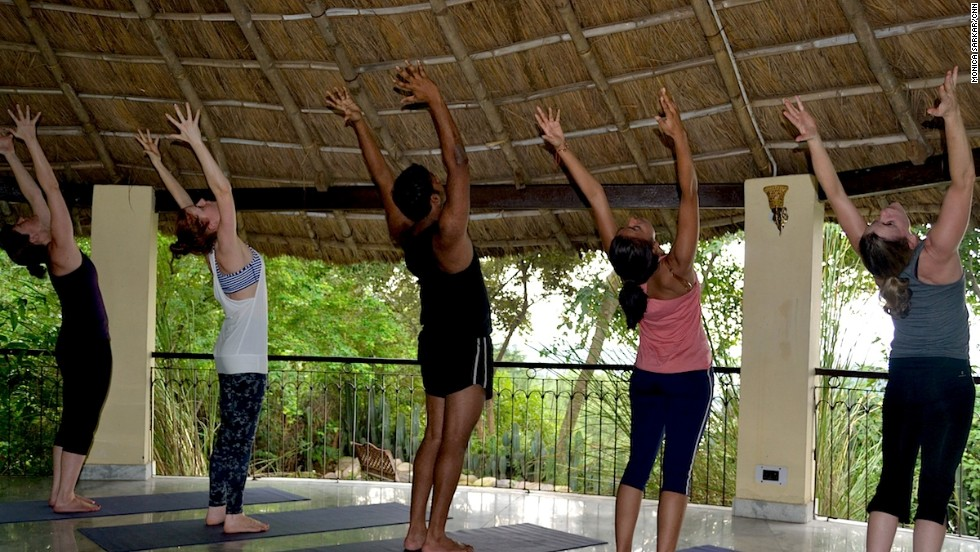 Basunti morning yoga sessions start at 7 a.m. at the retreat's thatched roof shala.