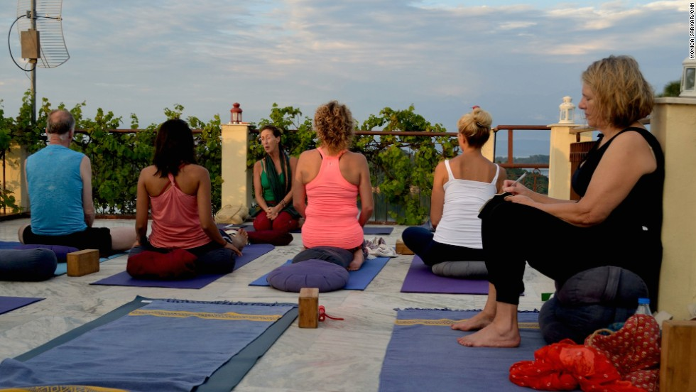 At dusk, spiritual talks and yoga sessions are held on the roof of the main Basunti house.