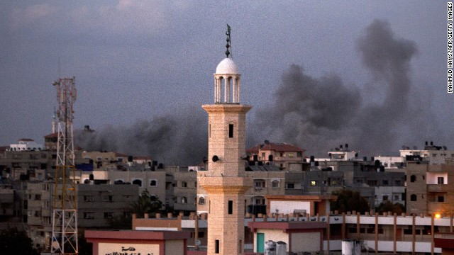 Smoke billows following an Israeli air strike in Gaza City on July 15, 2014. Prime Minister Benjamin Netanyahu pledged  to ramp up Israel's military campaign against Gaza, after an Egyptian truce plan failed to end eight days of cross-border fire.