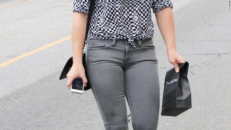 Hilary Duff embraces a few shades of gray as she leaves the MAC store on July 14.