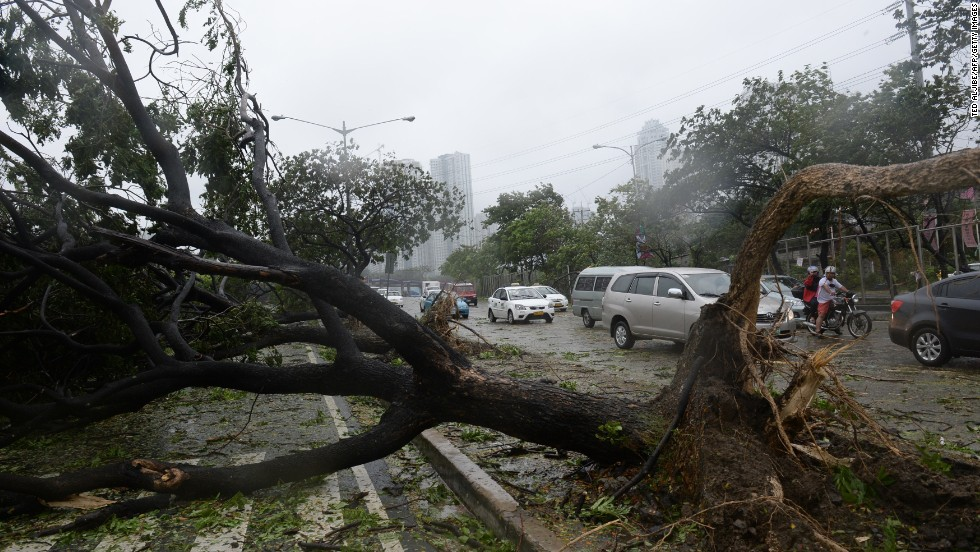 Motorists pick their way past fallen trees along a highway as Typhoon Rammasun exacts a toll on Manila.