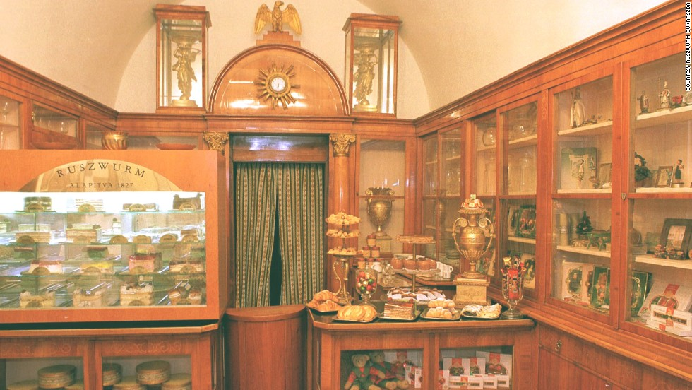 The Ruszwurm Cukraszda pastry shop in Budapest still contains most of its original fixtures from the early 19th century.