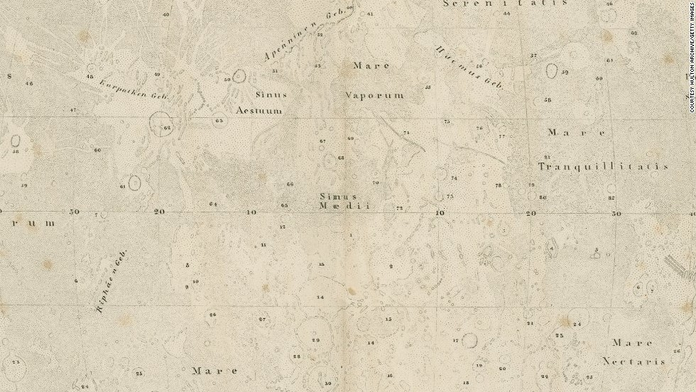 <em><strong>Wilhelm Beer and Johann Heinrich von Mädler, 1834-36</strong></em><br /><br />This exceptionally detailed map was produced by German astronomers Wilhelm Beer and Johann Heinrich von Mädler, and was released in quadrants between 1834 and 1836. Their <em>Mappa Selenographica -- </em>shown here as a closeup from Stieler's Hand-Atlas<em> -- </em>is considered the most complete moon map of its age, and would not be surpassed for 40 years.