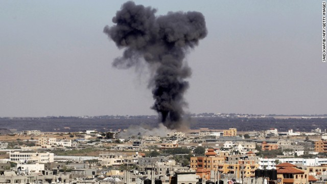 Smoke rises after an Israeli air strike in Rafah, in the southern Gaza Strip July 16, 2014. Four children were killed and several injured at a beach in Gaza City  medics said, in Israeli shelling witnessed by AFP journalists.