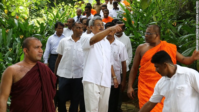 Gotabaya Rajapaksa, Sri Lanka's Secretary of Defence, with Gnanasara at a BBS-affiliated Buddhist academy that he officially opened in March last year.