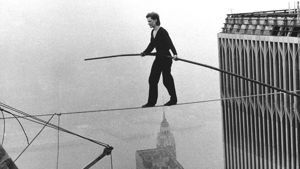 "French aerialist Philippe Petit dazzled onlookers below as he walked across a tightrope suspended between the World Trade Center's twin towers on August 7 in New York. Petit's long road to this feat was documented in James Marsh's 2008 documentary ""<a href=""http://www.imdb.com/title/tt1155592/"" target=""_blank"">Man on a Wire</a>."""