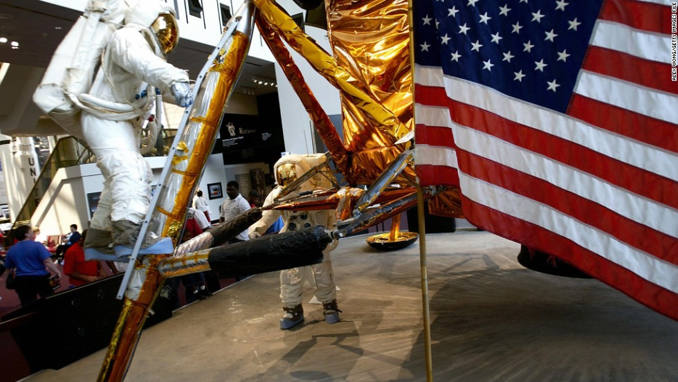 An American flag is part of the display at the Smithsonian's National Air and Space Museum.