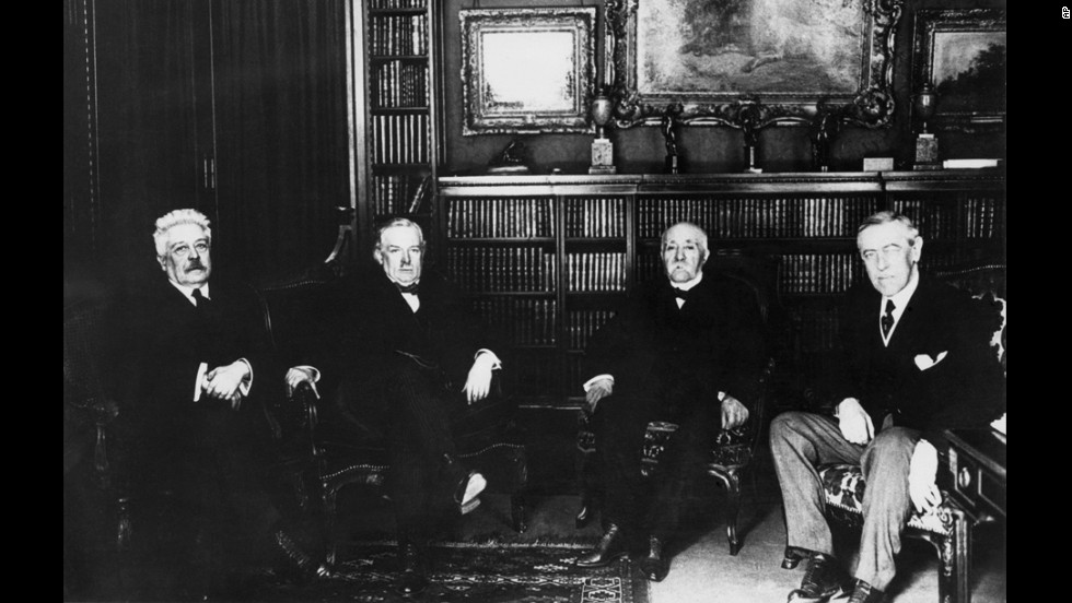 "At the Paris Peace Conference, held earlier in 1919, some 30 nations  convened to reach the terms of peace, but it was ""The Big Four"" who would hold sway on Versailles' terms.  Left to right: Italian Prime Minister Vittorio Orlando, British Prime Minister David Lloyd George, French Prime Minister Georges Clemenceau and U.S. President Woodrow Wilson."
