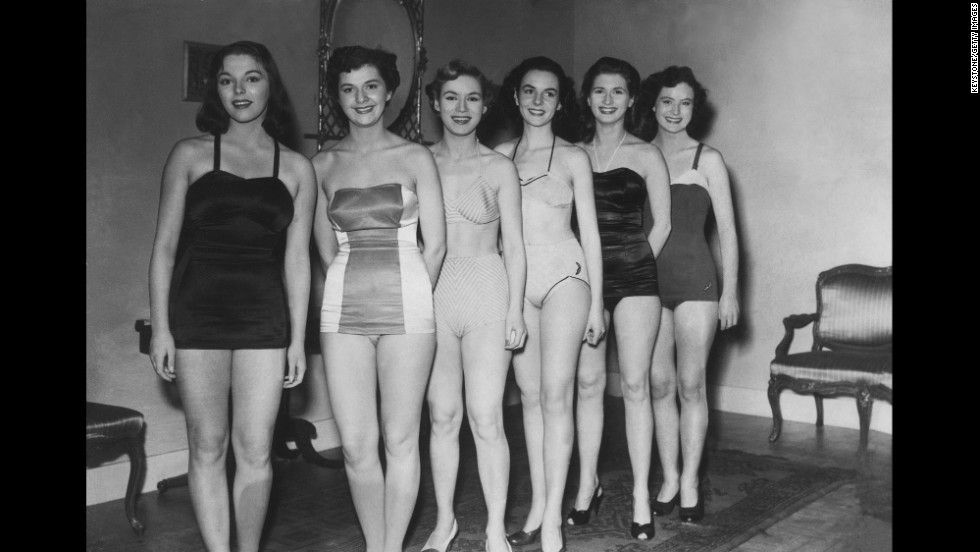 "Circa 1940, from left, actresses Joan Collins, Pauline Andress, Veronica Hurst, Janice Lothian, Mavis Greenaway and Norma Maden stand for their screen test at Shepperton Studios, where they were vying for a role in the film ""Beauty Queen."""